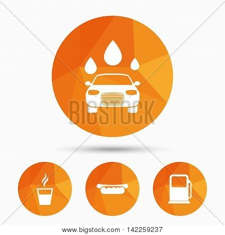 Petrol or Gas station services icons. Automated car wash signs. Hotdog sandwich and hot coffee cup symbols. Triangular low poly buttons with shadow. Vector