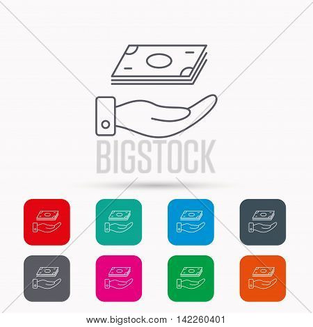 Save money icon. Hand with cash sign. Investment or savings symbol. Linear icons in squares on white background. Flat web symbols. Vector