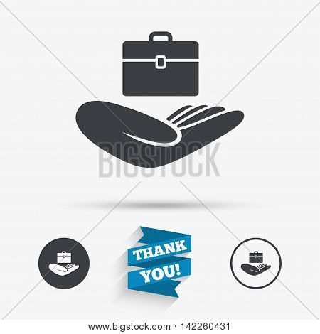 Baggage insurance sign icon. Hand holds travel luggage. Protection from loss of baggage. Flat icons. Buttons with icons. Thank you ribbon. Vector
