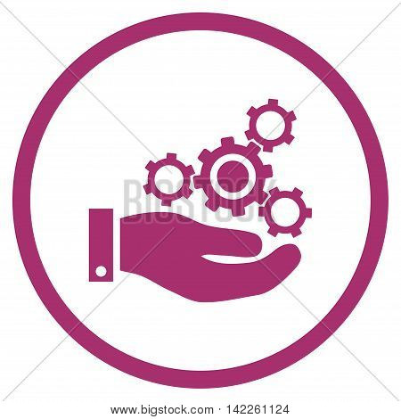 Mechanics Service vector icon. Style is flat rounded iconic symbol, mechanics service icon is drawn with purple color on a white background.
