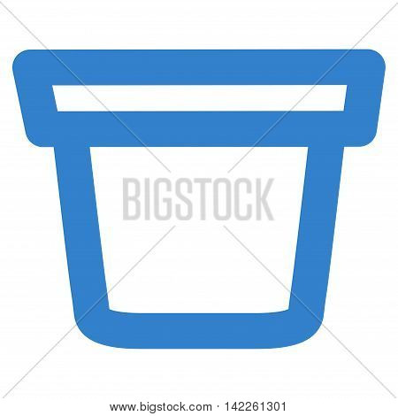 Pail vector icon. Style is linear flat icon symbol, cobalt color, white background.