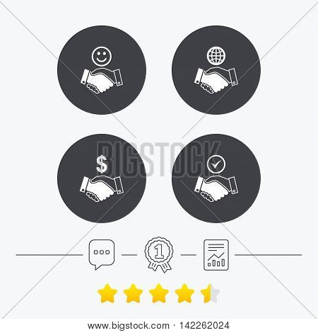 Handshake icons. World, Smile happy face and house building symbol. Dollar cash money. Amicable agreement. Chat, award medal and report linear icons. Star vote ranking. Vector