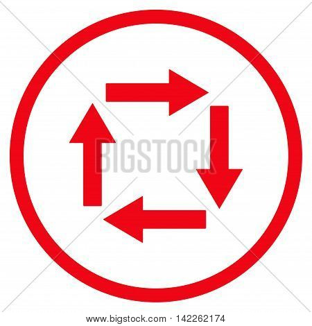 Circulation Arrows vector icon. Style is flat rounded iconic symbol, circulation arrows icon is drawn with red color on a white background.