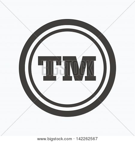 Registered TM trademark icon. Intellectual work protection symbol. Gray flat web icon on white background. Vector