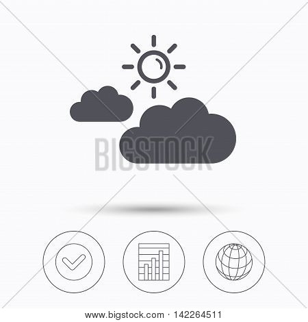 Cloud with sun icon. Sunny weather symbol. Check tick, graph chart and internet globe. Linear icons on white background. Vector