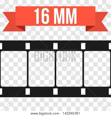 Vector 16 mm Film Strip Illustration on transparent background. Abstract Film Strip design template. Film Strip Seamless Pattern. Red banner ribbon text.