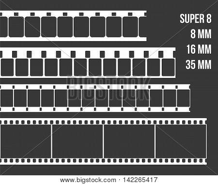 Vector Film Strip Set Illustration on black background. Abstract Film Strip Super 8 16 35mm design template. Film Strip Seamless Pattern.