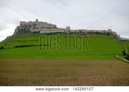 Spišské Podhradie, Slovakia, July 28, 2016: The Spis castle is one of the largest castles in Europe.