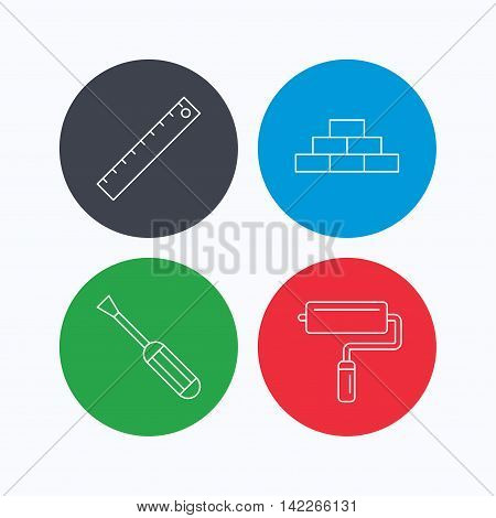 Screwdriver, ruler and paint roller icons. Brickwork linear sign. Linear icons on colored buttons. Flat web symbols. Vector