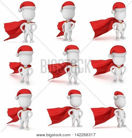 3d man brave superhero santa with arms akimbo wear red cloak and santa claus hat. 3D render set isolated on white background.