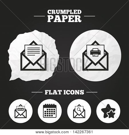 Crumpled paper speech bubble. Mail envelope icons. Print message document symbol. Post office letter signs. Spam mails and search message icons. Paper button. Vector