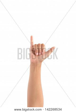 hand symbol. Finger crossed hand sign Y in hand sign language. symbol isolated on white