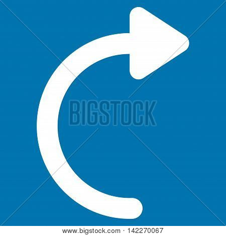 Rotate Cw glyph icon. Style is outline flat icon symbol, white color, blue background. poster
