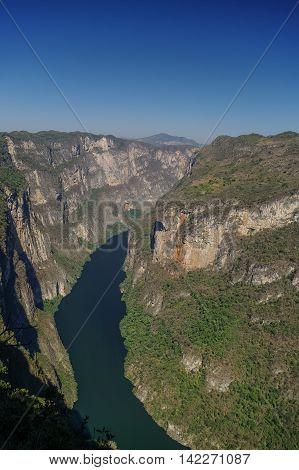 Panorama Of Sumidero Canyon From Viewpoint. Near Tuxtla Gutierrez In Chiapas, Mexico