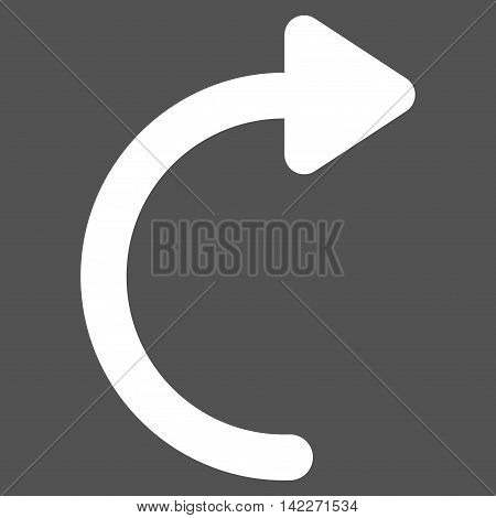 Rotate Cw glyph icon. Style is linear flat icon symbol, white color, gray background. poster
