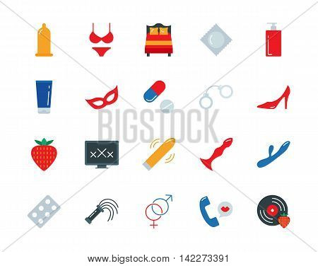 Sex vector colorful icons set flat style