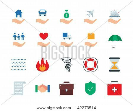 Insurance colorful vector icons set flat style