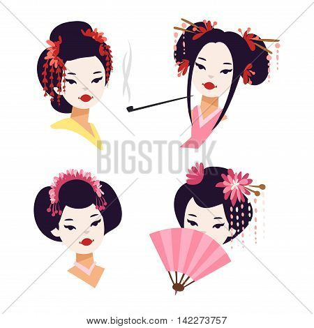 Vector kokeshi doll japanese geisha girl character. Colorful kimono pretty traditional woman beautiful makeup japanese geisha girl. Japanese geisha girl fashion culture beauty art.