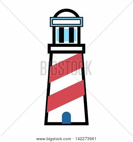 Vector cartoon flat lighthouse icon. Searchlight tower for maritime navigation guidance. Ocean beacon light tower lighthouse. Travel lighthouse water sailing signal navigation symbol outline icon