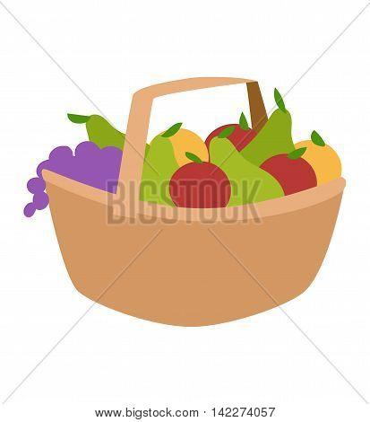 Rich harvest basket of vegetables vector illustration. Orange color raw fresh vegetable harvest basket tasty apple juicy fruits. Organic crop plant nature vegetable harvest basket.