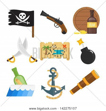 Golden age pirate adventures toy accessories pictograms treasures icons children party game icons set. Abstract vector set treasures icons. Sword gun sign, anchor weapon treasures icons collection.