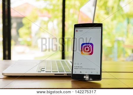 CHIANG MAI THAILAND - MAY 12 2016: Screen shot new logo Instagram application using LG G4. Instagram is largest and most popular photograph social networking.