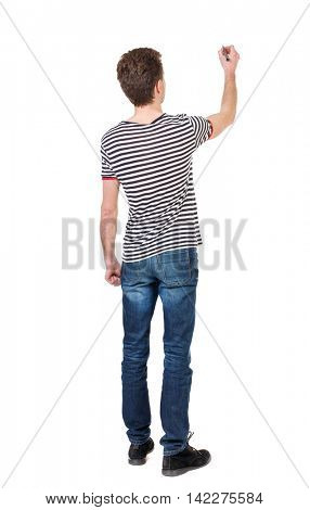 back view of writing business man. Rear view people collection.  backside view of person. Isolated over white background. Curly boy in a striped vest draws a felt-tip pen.