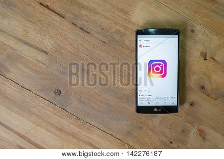 CHIANG MAI THAILAND - JUNE 09 2016: Screen shot new logo of Instagram application using LG G4. Instagram is largest and most popular photograph social networking. top view