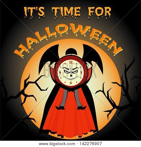 It's time for Halloween. Cartoon evil clock