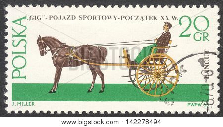 MOSCOW RUSSIA - CIRCA MAY 2016: a post stamp printed in POLAND shows a Gig coach the series