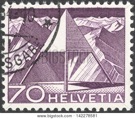 MOSCOW RUSSIA - CIRCA MAY 2016: a post stamp printed in SWITZERLAND shows Triangulation Point the series