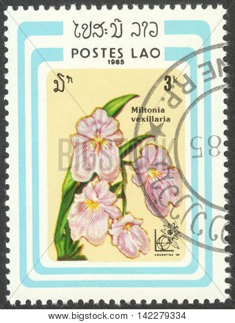 MOSCOW RUSSIA - CIRCA MAY 2016: a post stamp printed in LAOS shows Miltonia vexillaria orchid the series