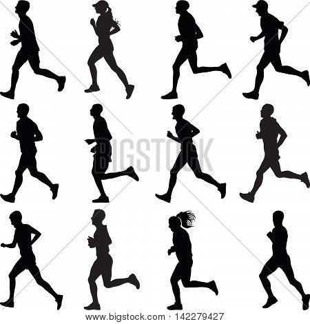 Ten men and two women runners silhouette vector