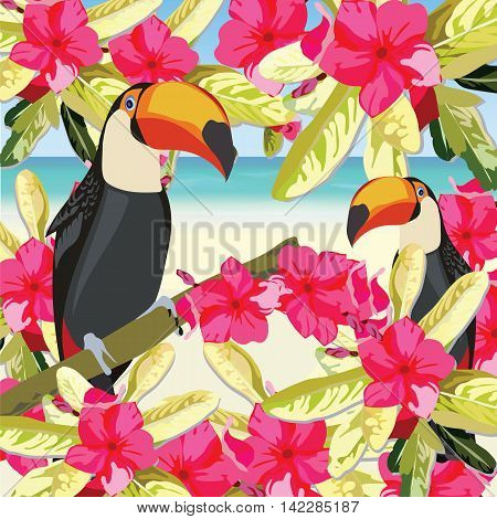Exotic tropical card with toucan parrot birds and flowers. Vector Summer beach background illustration