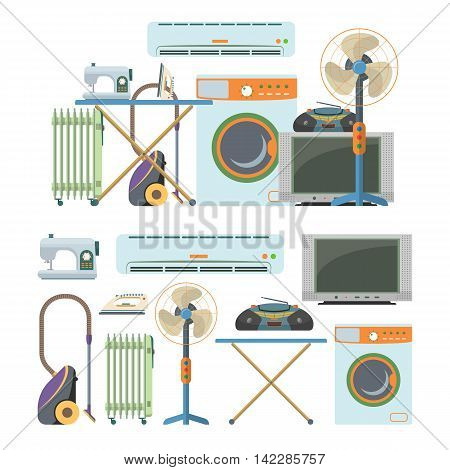 Vector set of home electronics objects isolated on white background. House appliances icons. Washing machine, vacuum cleaner, air-conditioner, tv, radiator, heater