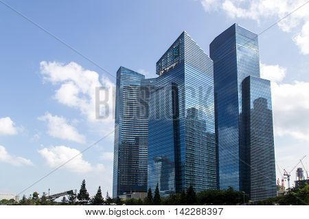 Singapore, Singapore - January 30, 2015: Skyscrapers in the central business district which contains the core financial and commercial districts of Singapore.