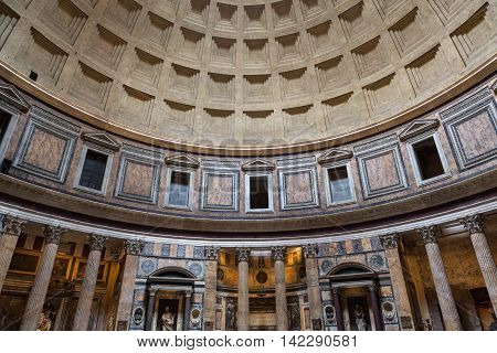ROME ITALY - JUNE 15 2015: Pantheon in Rome Italy . Pantheon was built as a temple to all the gods of ancient Rome and rebuilt by the emperor Hadrian about 126 AD.