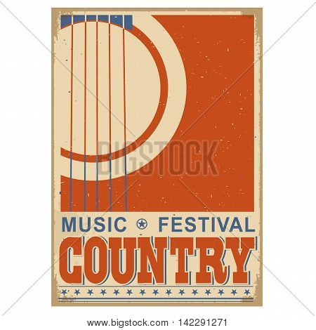 Country Music Festival Background With Text.vector Old Poster With Acoustic Guitar For Text