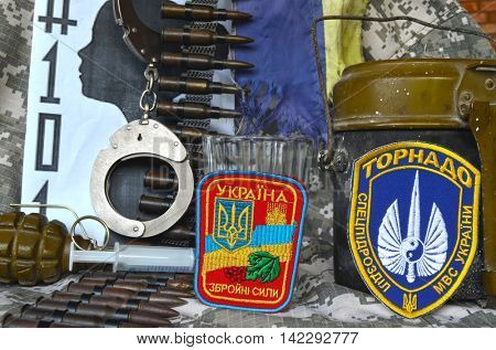 ILLUSTRATIVE EDITORIAL.Chevron of Ukrainian SPECIAL chastener battalion Tornado in Police.The battalion disbanded for pederastic rapes kids.Ukraine kill 101 kids of Donbass.August 0,2016,Kiev, Ukraine