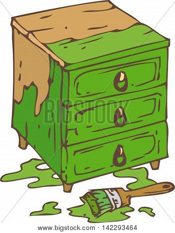 Green Chest of Drawers and Paintbrush with Green Paint. Isolated on a White