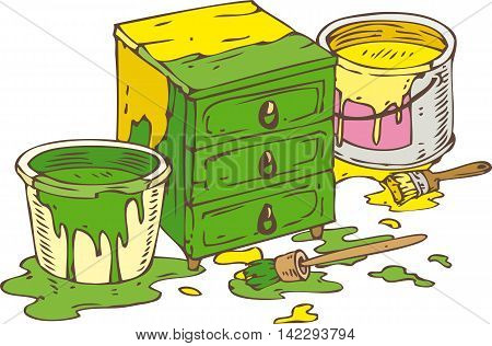 Green Chest of Drawers Two Tin Cans of Green and Yellow paint and Paintbrushes. Isolated on a White