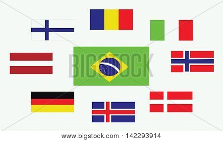 Set of country flags Romania Norway Brasil Italy Germany Iceland Denmark Finland and Austria. Digital vector image