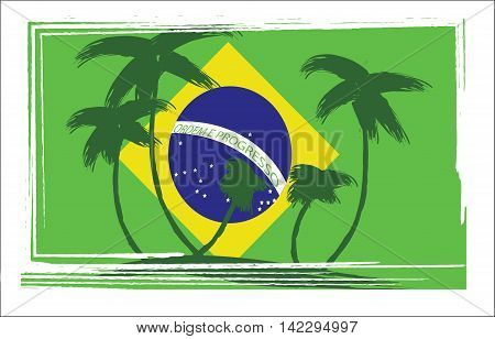 Flag of Brasil design with hand drawn palm trees. Digital vector image