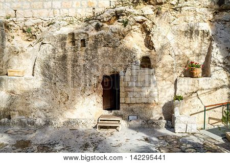Entrance to the tomb. The Garden Tomb in Jerusalem Israel