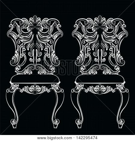 Fabulous Rich Baroque Rococo chair. French Luxury rich carved ornaments furniture. Vector Victorian exquisite Style ornamented wooden structure