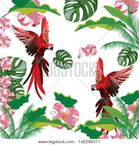 Exotic tropical pattern with parrot birds and  flowers. Vector background illustration
