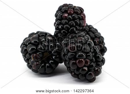 Fresh ripe fruit blackberry isolated on white background