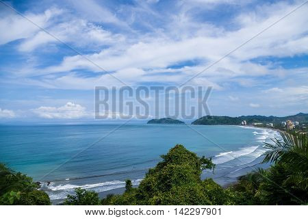Panoramic view of Jaco beach from a lookout in Jaco, Costa Rica.