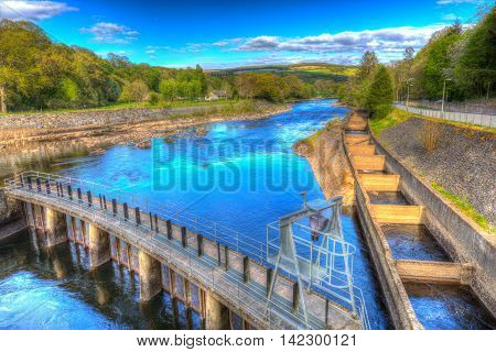 Fish ladder Pitlochry Scotland UK River Tummel in colourful hdr
