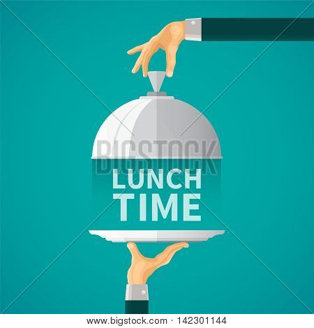 Lunch Time Vector Concept With Cloche Lid Cover In Flat Style